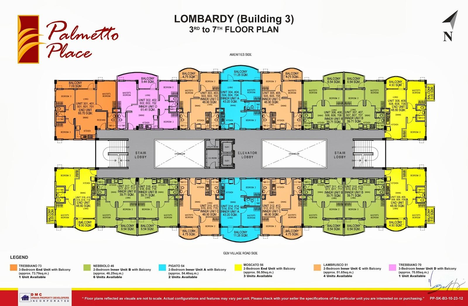 Palmetto Place Condominium, Ma-a, Davao City 3rd-7th Floor Plan