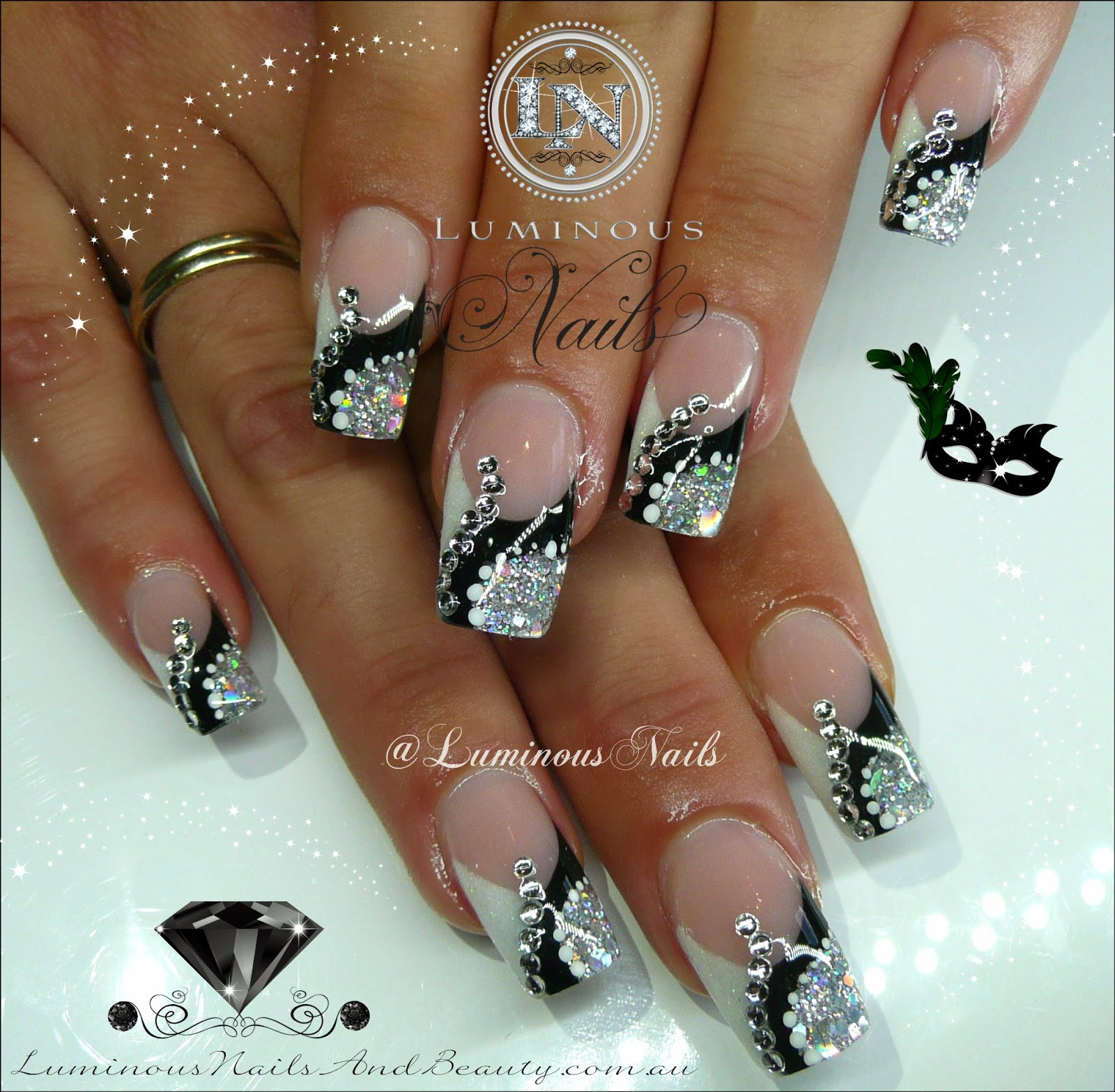 Black And White Nail Designs With Rhinestones Hireability