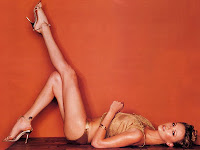 Charlize Theron legs up pose