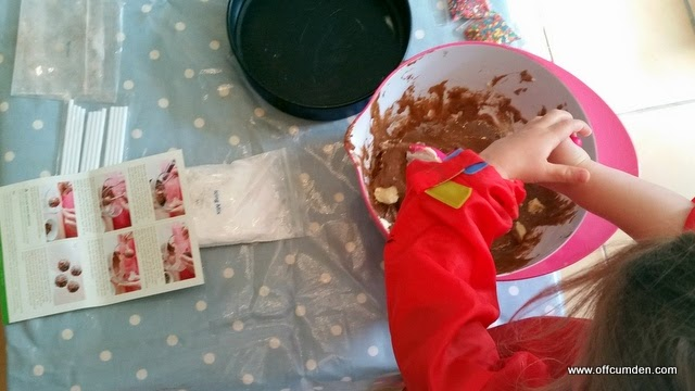 Mixing a cake