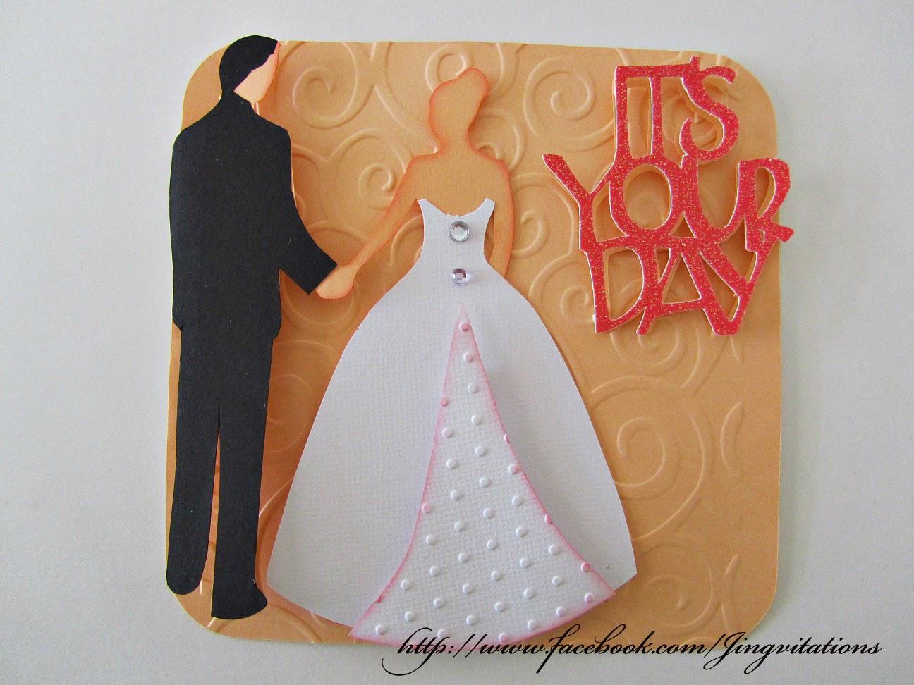 Jingvitations Wedding Card or Wedding Invitation from Cricut Tie