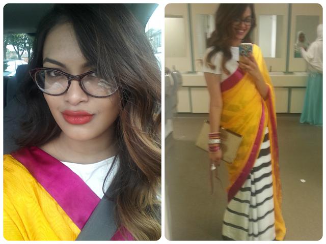 masaba yellow print saree