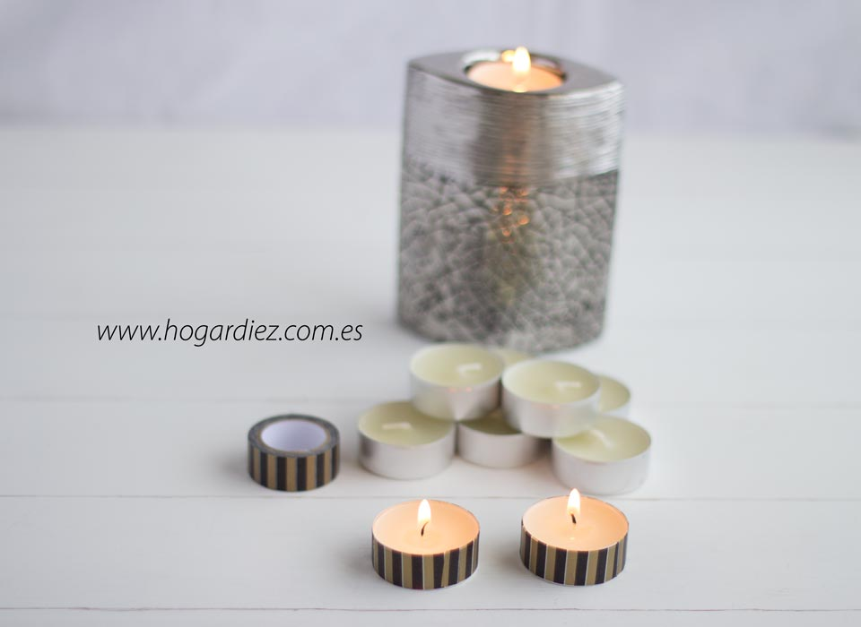 Velas decoradas con washi tape