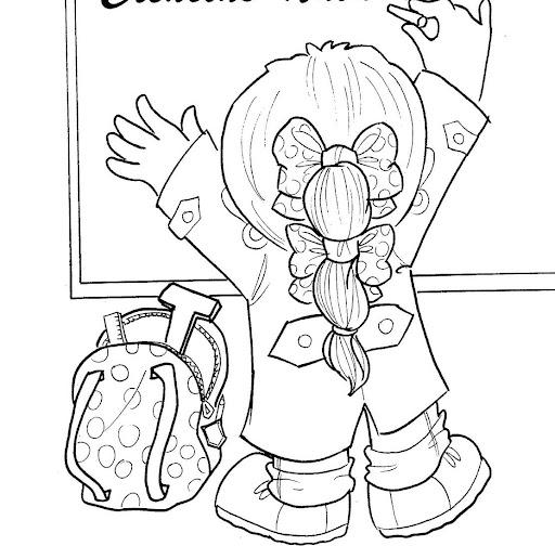 Dibujos para pintar: Nena de espaldas escribiendo en el pizarrón.