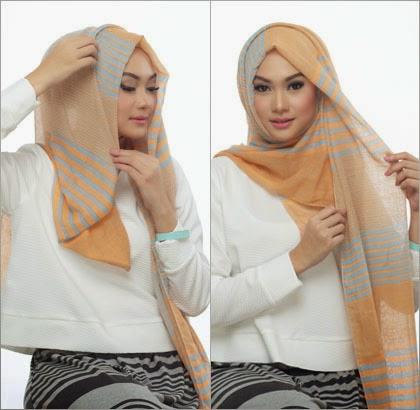 5 Cara Memakai Jilbab dengan Scarf Panjang ala Si Cantik Nada Puspita