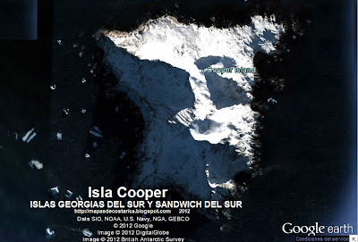 Isla Cooper, ISLAS GEORGIAS DEL SUR Y SANDWICH DEL SUR , Google Earth 2012