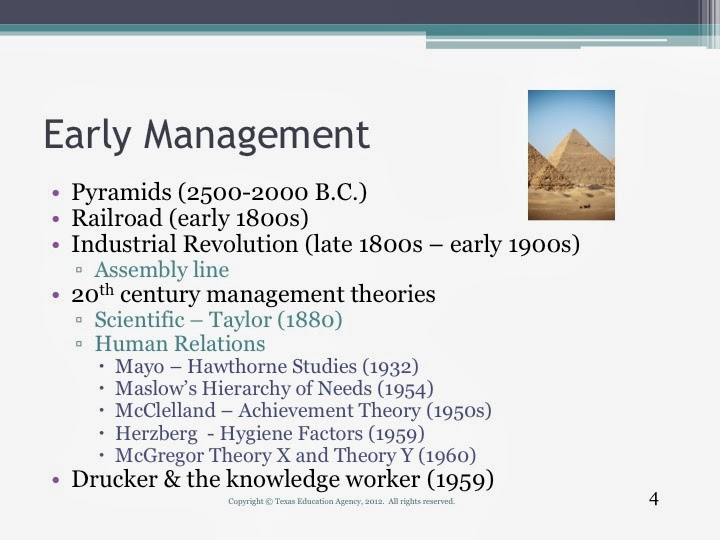 essay about evolution of management The work required 100, 000 men to cover 13 acres of land and move stone slabs to the site of the pyramid across certain kilometers in distance all the hammering and.