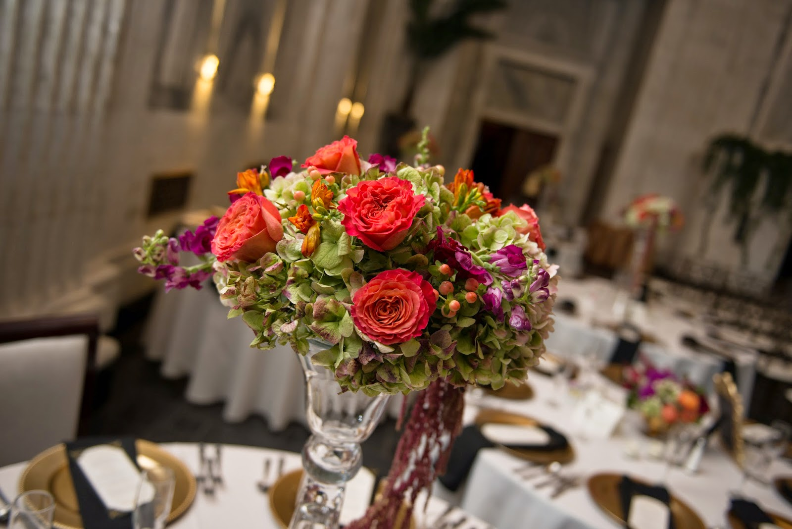 Sixty State Place Wedding - Table Centerpiece - Downtown Albany NY Wedding - Old Historical Bank Wedding - Historical Venue Wedding - Upstate NY - Splendid Stems Floral Designs