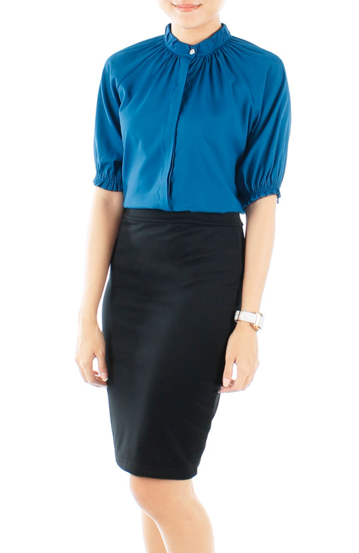 Brilliant High Neck Ruched Shirt