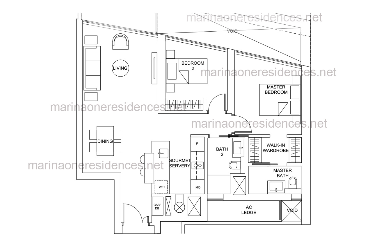marina one residences floor plan - 2 Bedroom