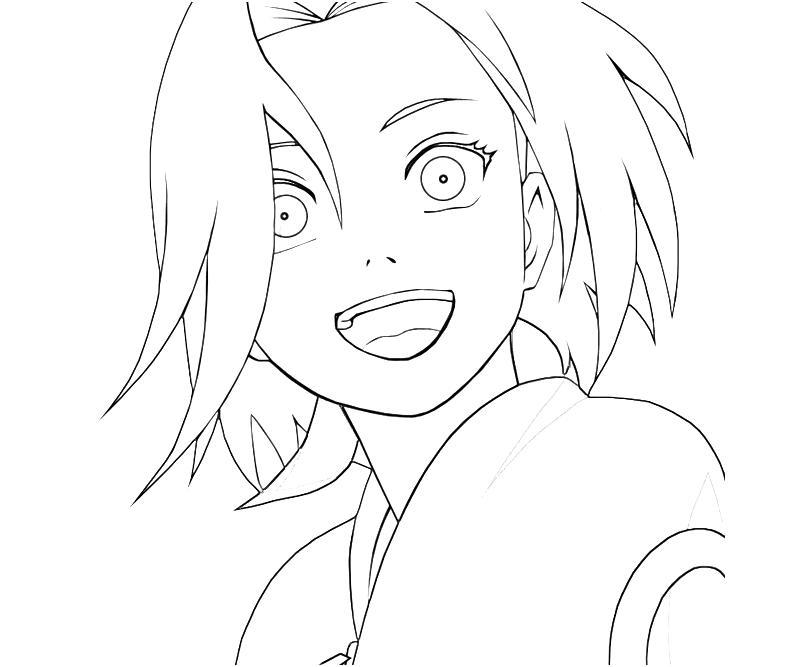 Printable Naruto Sakura Happy Coloring Pages title=