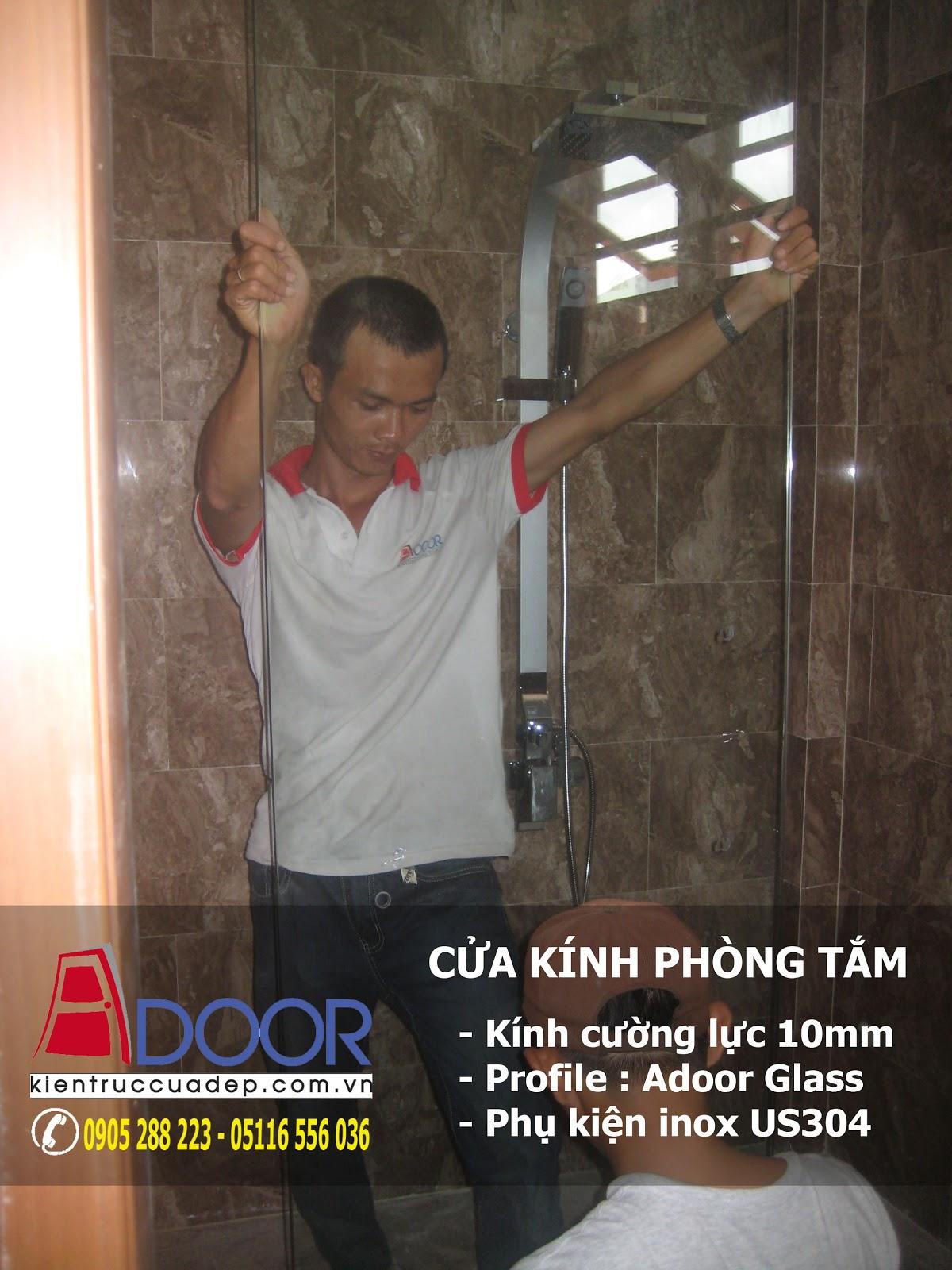 Cửa kính phòng tắm tại Đà Nẵng, cua kinh phong tam tai da nang