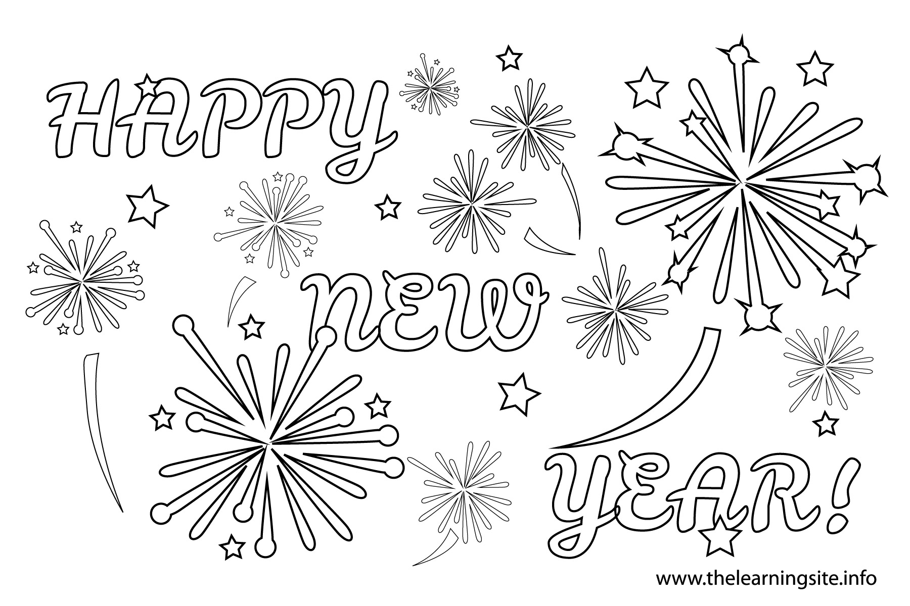 firework clipart colouring pages page 3