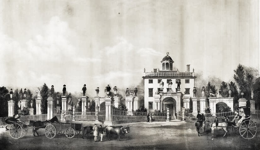 19C American Women: 1810 View of the Mansion of the late