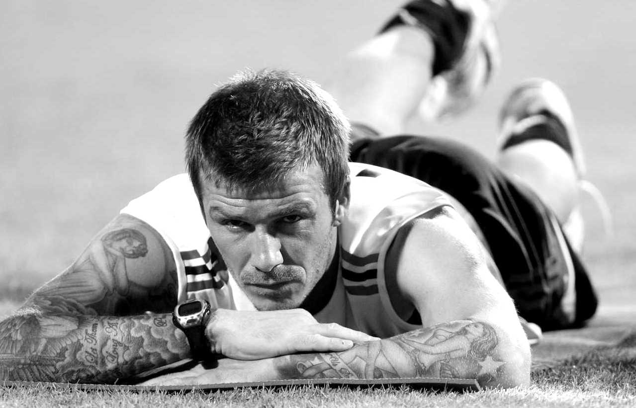 David Beckham warming up black and white Photography