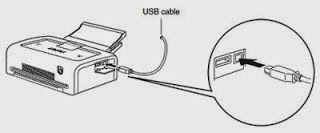 printer connected to USB cable
