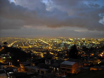 A twilight scene of downtown Bogotá