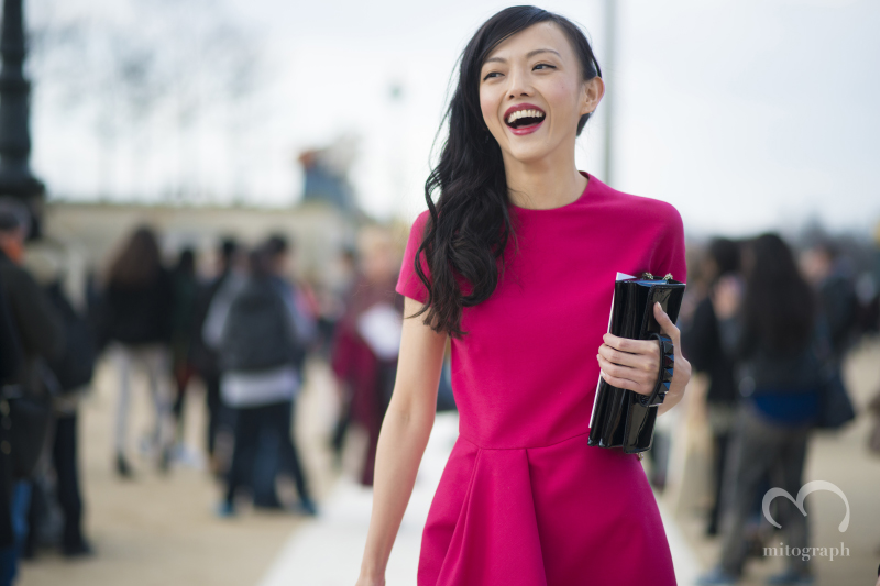 Model,Actress Rila Fukushima attends to Valentino show during Paris Fashion Week 2014 Fall Winter PFW