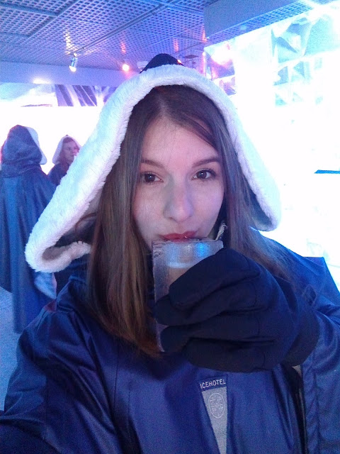 Having a drink at the ice bar