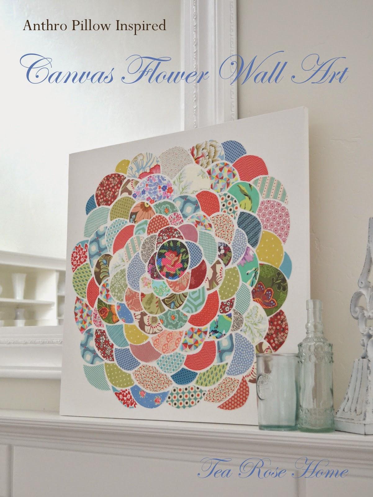 tea rose home anthro inspired canvas flower wall art. Black Bedroom Furniture Sets. Home Design Ideas