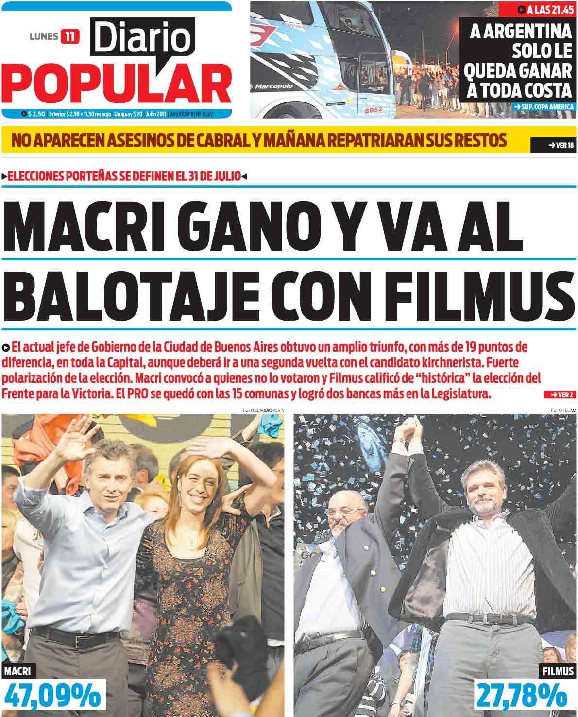 Tapa diarios cronica popular 11 07 11 report show for Diario el show del espectaculo