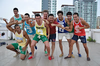 June Macasaet with other Manhunt International 2012 contestants