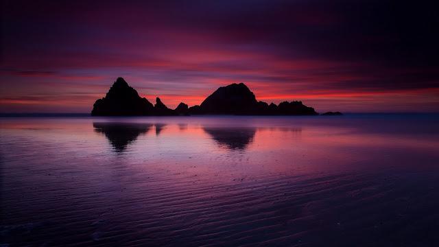USA California Ocean Beach Rock Mountains Evening Twilight Crimson Sunset  HD Wallpaper
