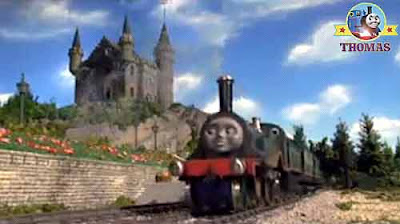 Thomas and friends Henry the tank engine and the castle flagpole flag emerald Emily the train Sodor