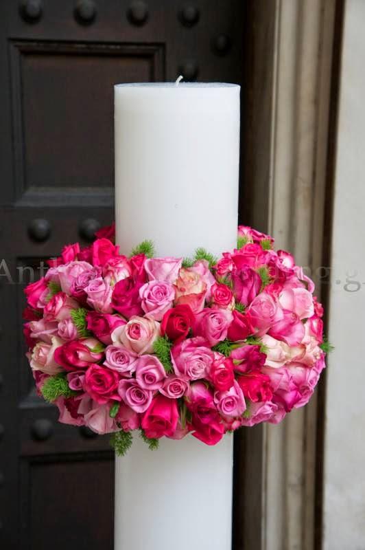 ανθέμιο λαμπάδα με τριαντάφυλλα