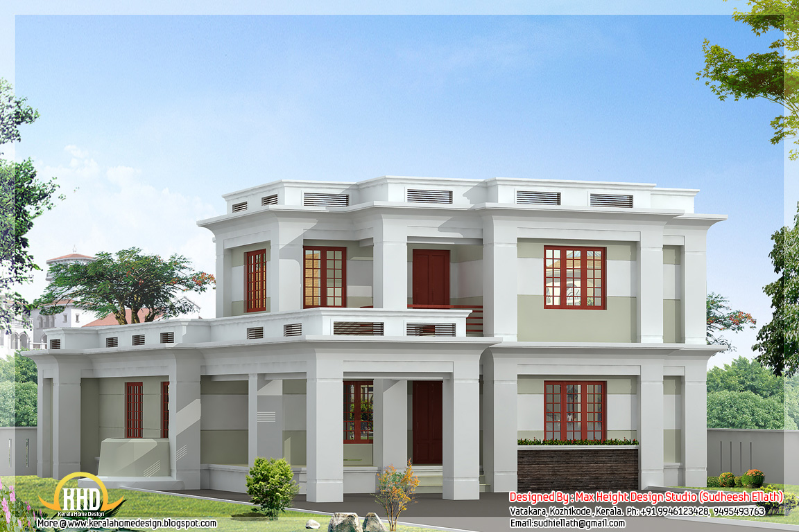 Flat roof modern home design 2360 sq ft kerala home for Flat roof home plans