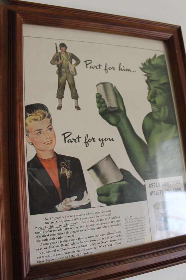 1940's green giant war era ad via Va Voom Vintage