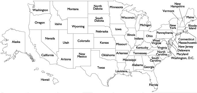 Black White Map Of Us With Labels - Idaho on the us map