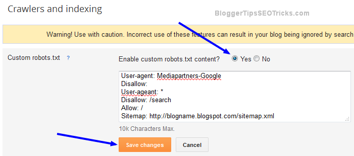 how to edit robots.txt file in blogger