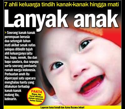 7 Ahli keluarga tindih kanak-kanak hingga mati, lanyak anak,