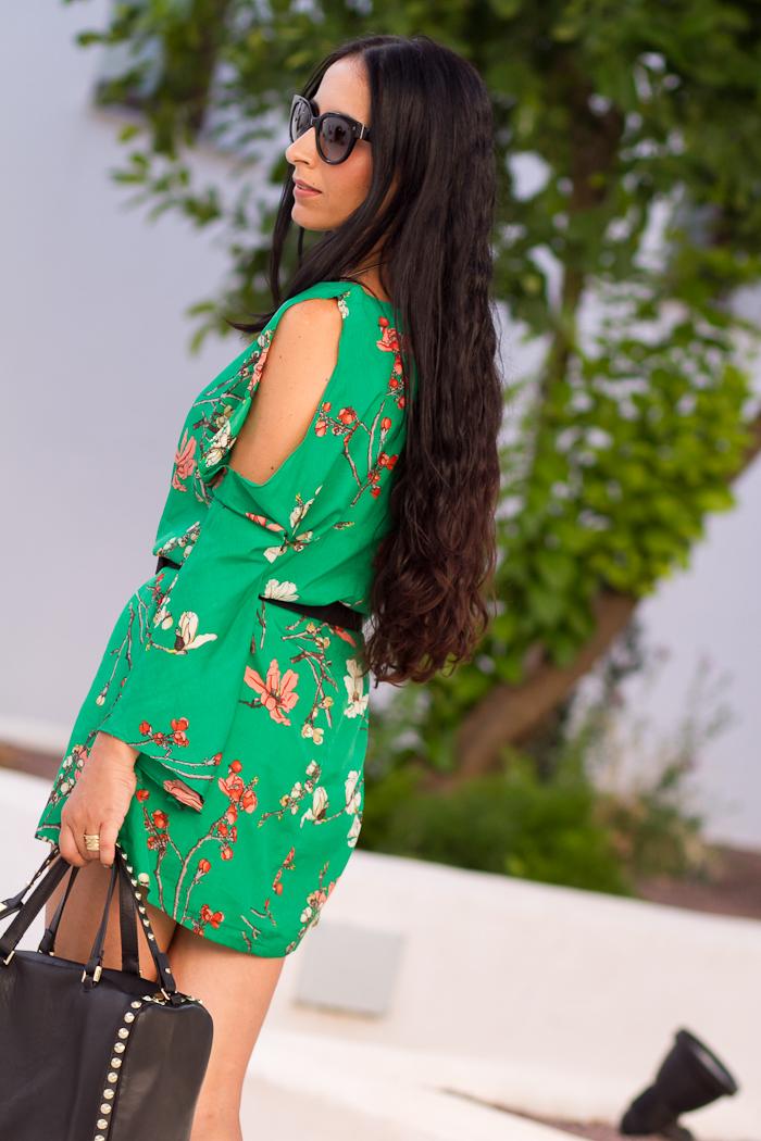 espalda vestido de estampado orietal