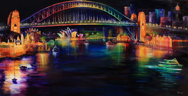 Oil Painting inspired by Vivid festival- Nocturne of Sydney Harbour Bridge  from Lavender Bay painted by artist Jane Bennett