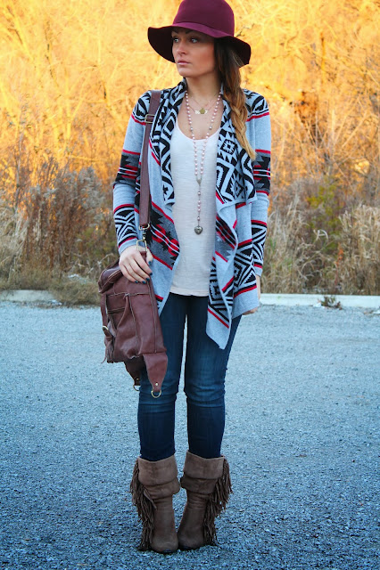 H&M hat, aztec print sweater, boho look, Forever 21 sweater, H&M jeans, Urban Planet boots