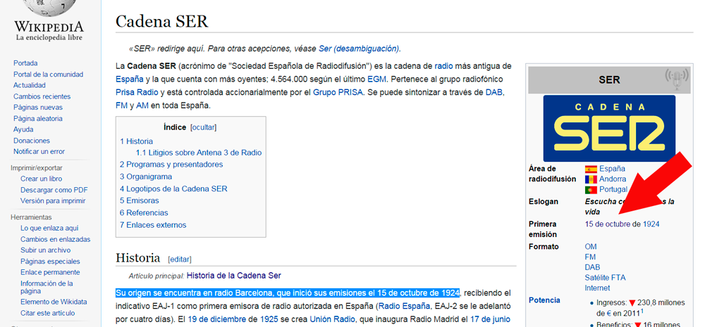 Wikipedia cadena ser inicio... ¿Cuándo es?