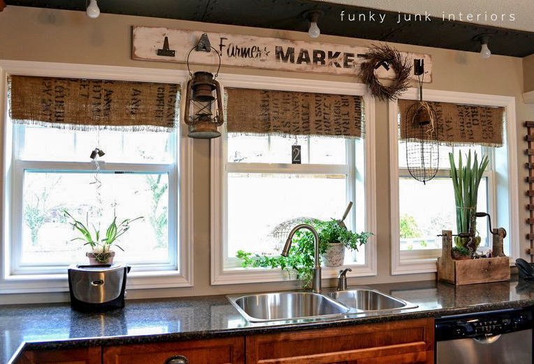 Rustic burlap window treatments - Then Add A Few Green Faux Plants For A No Upkeep Window Area And