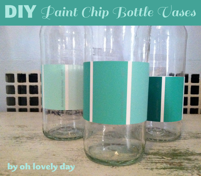 DIY ombre paint chip bottle wedding vases by oh lovely day | www.oh-lovely-day.com