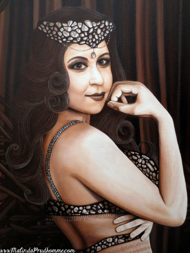 malinda prudhomme, patrick giordani, inner goddess of burlesque beauty, pin up art, sepia art, portrait artist, portrait painting, seductive pin up, wife gift