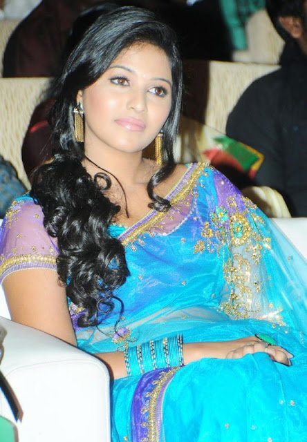 Actress Anjali in Blue Transparent Saree Photos