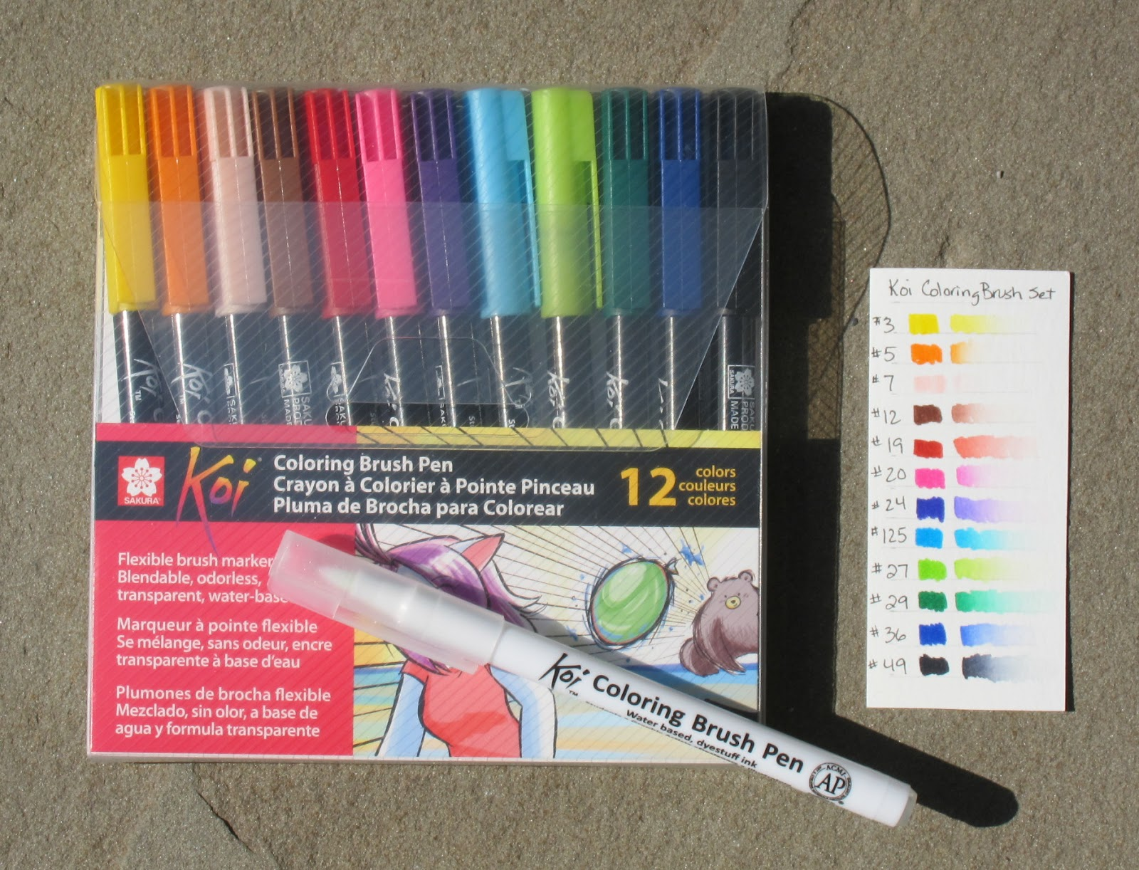 Sue\'s tangle trips: Koi Coloring Brush Pens - review