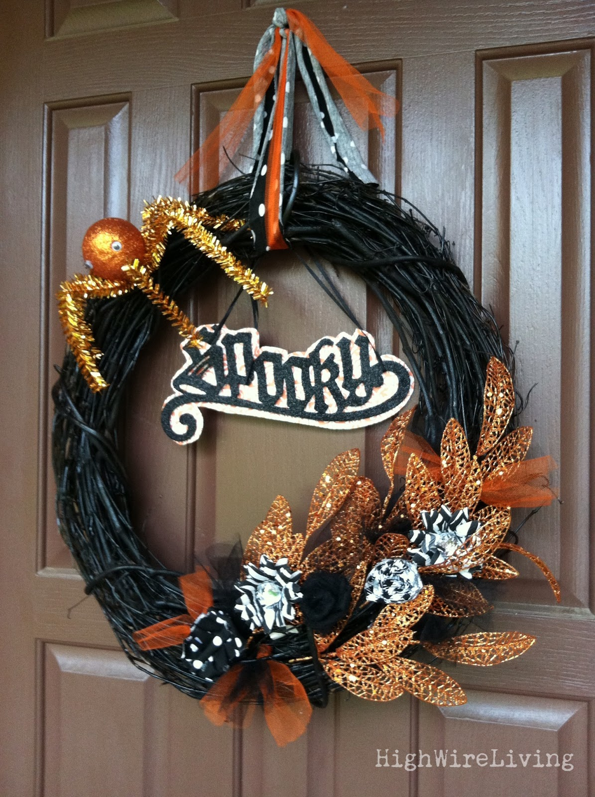Design Halloween Wreath high wire living spooky halloween wreath this is another that took several tries to get it right at first i wanted make a tulle like one but was such craft fail