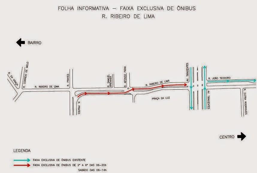 Faixa Exclusiva de Ônibus - Rua Ribeiro de Lima