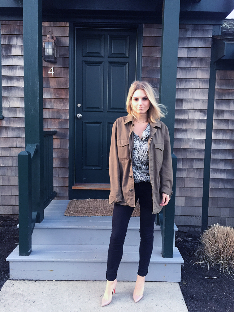 Fashion Over Reason in Newport RI, Gap men's military jacket, Vince black skinny jeans, Christian Louboutin Pigalle nude pumps, Zara snake print tunic, sunset glow
