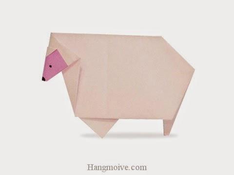 Cách gấp, xếp con cừu bằng giấy origami - Video hướng dẫn xếp hình - How to make a Sheep