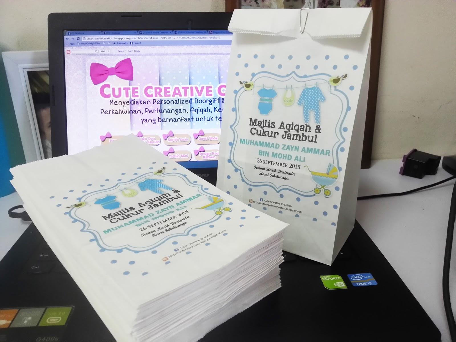 Printed paper bag for Idea doorgift untuk aqiqah