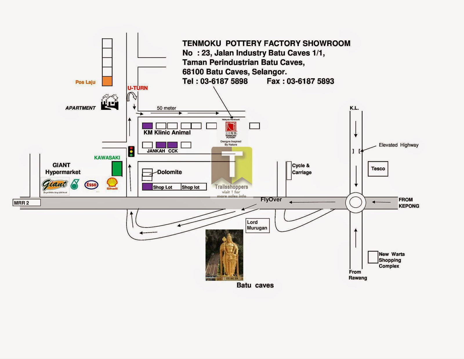 Tenmoku Pottery Warehouse Sale offers map batu caves