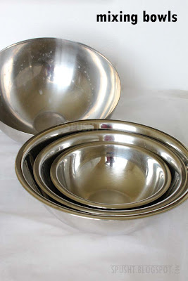 stainless steel mixing and serving bowls